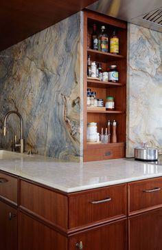 Morgante Wilson designed all types of storage including a rolling backsplash that hides shelves