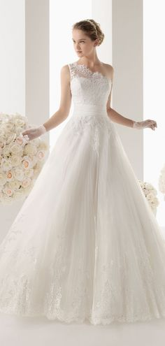 Princess Sleeveless One Shoulder Sash Lace Wedding Dress  #wedding #dress #shedressing