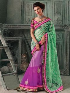 Green And Purple Net Saree With Butta Work