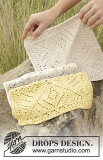 "Thistle in Bloom - Knitted DROPS cloths with lace pattern in ""Belle"". - Free pattern by DROPS Design"