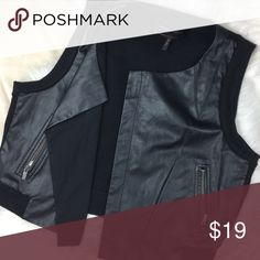 BCBG Leather Vest BCBG Leather Zipper Vest the back is a fabric material super cute 😜 worn very little BCBGMaxAzria Jackets & Coats Vests