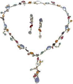 CARTIER Meli Melo Diamond Multicolor Gemstone Necklace & Earrings with blue chalcedony, moonstone, aquamarine, garnet, pink tourmaline, iolite and diamonds