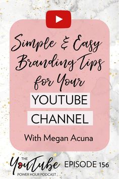 Super easy and simple branding tips for your YouTube channel! Social Media Tips, Social Media Marketing, Content Marketing, Marketing Strategies, Affiliate Marketing, Branding Your Business, Business Tips, Craft Business, Personal Branding