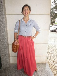O meu Plano B: Look do dia:Long skirt with striped shirt