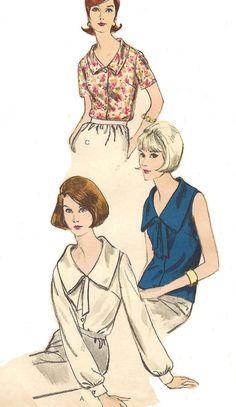 1950s Womens Blouse Pattern Vogue Sewing Pattern by CloesCloset