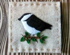 Chickadee Felt Needle Square - Backyard Birds  - 3.5 by 3.5 inches
