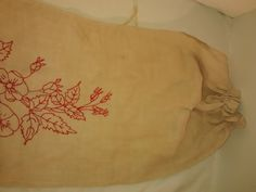 Antique Embroidered Red Work  Linen Laundry Bag by thelongacreflea