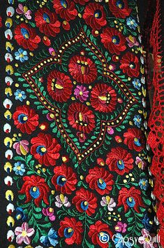 Gipsy Quilt Kolocsa Hungarian flowers - on black background is stunning