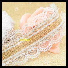 10 meter Natural Jute Burlap Hessian Ribbon + white lace trim Edge Vintage Wedding decoration Rustic