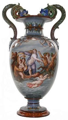 Royal Porcelain Factory, Berlin KPM Grey Ground Vase with Central Panel Depicting Cupids Shooting Arrows Flying Above Centaurs and Nymphs in a Drunken Orgy""