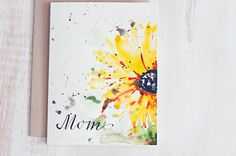 Mothers day card unique, Hand Painted Watercolor cards, Hand lettered Watercolor Card, Mothers day card floral,Just for her, For Mom