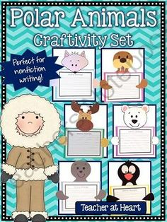 Polar Animals Craftivity Set from Teacher at Heart on TeachersNotebook.com -  (49 pages)  - 6 craft patterns with a variety of both arctic and antarctic animals (caribou, arctic fox, polar bear, penguin, seal, walrus).  Perfect for a bulletin board display!