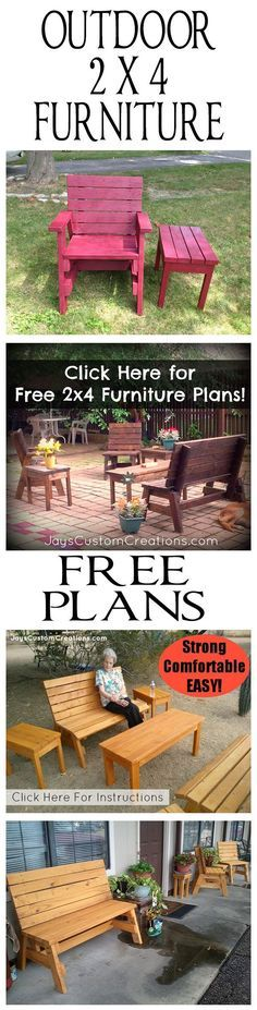 Outdoor 2x4 furniture plans  In this tutorial I will show you how to build a bench and a couple side tables. However, in the video tutorial I will only be building the bench. The tables are pretty self explanatory and I had no need for them at the moment so I did not include them in the video build.