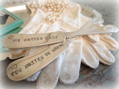 hand stamped antique silverplate butter knife by AntiqueShopGirl, $16.00