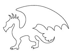 Dragon pattern. Use the printable outline for crafts, creating stencils, scrapbooking, and more. Free PDF template to download and print at http://patternuniverse.com/download/dragon-pattern/