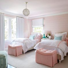"When Howard heard that the two girls who were sharing this bedroom loved pink, the youthful scheme of blush and mint was a no-brainer for him. ""Green and red are complementary hues on the color wheel, so light red and light green (technically pink and mint) work well together,"" he says. #homedecor #southernliving"