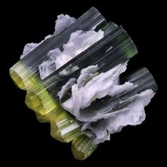 Tourmaline and Cleavelandite - Stak Nala, Pakistan Minerals And Gemstones, Crystals Minerals, Rocks And Minerals, Stones And Crystals, Cool Rocks, Beautiful Rocks, Mineral Stone, Rocks And Gems, Quartz Stone