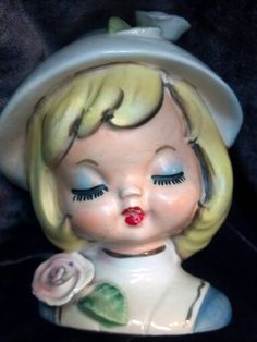 1950's GIRL HEADVASE RARE NANCY PEW COLLECTION BOOK
