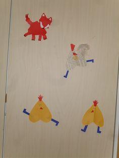 Kettu kanatarhassa .... revitty kettu kartongista ja sydämmellisiä kanoja.