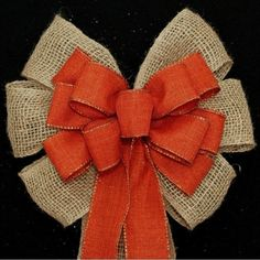 Burlap and Burnt Orange Rustic Fall Wedding Pew Bows Church Aisle Decorations by PackagePerfectBows on Etsy https://www.etsy.com/listing/199246319/burlap-and-burnt-orange-rustic-fall