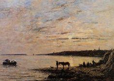 """""""Départ du bac pour Plougastel"""", 1869,  by Eugène Boudin"""