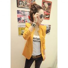 $9.49 Slim Fit Shrug Long Sleeve Solid Color Blazers For Women