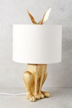 Anthropologie - Anthropologie Gilded Hare Lamp Ensemble
