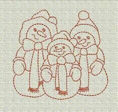 Image Search Results for redwork quilt - snow family in redwork