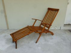 Chic And Stylish Antique Italian Cruise Line Wooden Deck Chair With  Original Pad