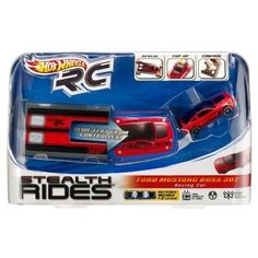 Hot Wheels RC Stealth Rides Racing Car - Ford Mustang Boss 302 by Mattel. $18.59. Folding Hot Wheels RC vehicle that fits in your pocket. Racing Car performs high-speed spinning and turns. Folds flat and fits in a slim carrying case. Transforms into 3D to become a fully functioning R/C vehicle. Carrying case doubles as the controller. From the Manufacturer                Hot Wheels RC Stealth Rides Racing Car Collection: Small enough to fit in a pocket, Stealth Rides vehic...