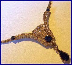 "Vintage Blue Clear Rhinestone Fancy Bib Necklace Choker w Gold Metal 16"" EX"