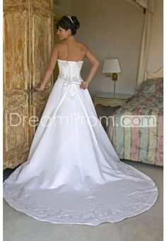 US $203.59 A-line/Princess SweetHeart Chapel Train Satin wedding dress for brides 2014 style(WDA0143)