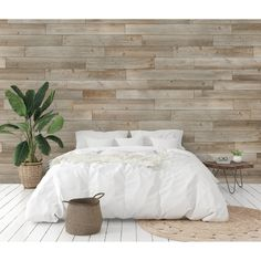 Genuine engineered hardwood wall planks with adhesive peel and stick backs. Available in many styles and colors, shop peel and stick wood wall planks today. Feature Wall Bedroom, Accent Wall Bedroom, Bedroom Decor, Pallet Wall Bedroom, Plank Wall Bedroom, Laminate Wall Panels, Stick On Wood Wall, Farmhouse Side Table, Plank Walls