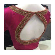 Blouse design with neckline work . New Saree Blouse Designs, Simple Blouse Designs, Stylish Blouse Design, Bridal Blouse Designs, Blouse Back Neck Designs, Salwar Designs, Choli Designs, Kolam Designs, Designer Blouse Patterns