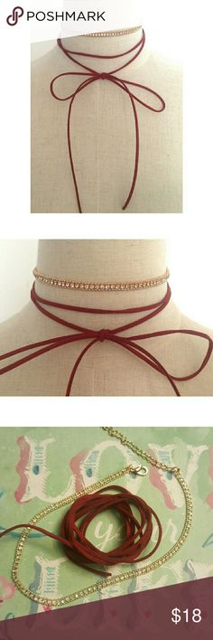 2 in 1 Suede Choker Brand new, no tags. Faux suede. Gold tone with rhinestones.  Offers welcome! Jewelry Necklaces