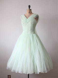 1950s dress  mint green princess dress by Thrush on Etsy, $290.00