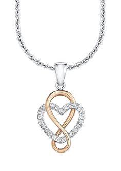 Halskette, »SO1244/1«, s.Oliver. Für das Gefühl unendlicher Liebe sorgt dieser Anhänger in moderner Bicolor-Optik. Diese glänzende Silberkette ist aus massivem, teilweise rhodiniertem Silber 925 gefertigt. Das Unendlichkeitssymbol ist zusätzlich 18 Karat rosévergoldet, während das Herzsymbol mit Zirkonia (synth.) verziert ist. Der romantische Anhänger ist ca. 2,1 cm lang und ca. 11 mm breit. Di...