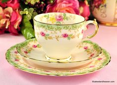 Vintage Plant Tuscan fine pink bone china teacup, saucer and tea plate.  This…