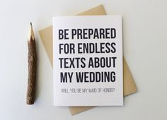 Will you Be My Maid of Honor Card Funny Humor by PattersonPaper