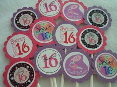 Sweet 16 Birthday Cupcake Toppers Cake & Party Toppers 16th Birthday