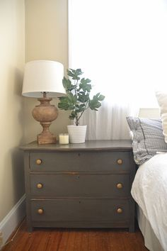 Master bedroom nightstand ideas dark gray rustic nightstands with gold hardware master bedroom nightstand decor . Rustic Nightstand, Dresser As Nightstand, Nightstand Ideas, Dresser Ideas, Home Bedroom, Master Bedroom, Bedroom Decor, Funky Bedroom, Bedroom Stuff