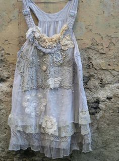 RESERVED for JOANNE-- Romantic light cotton layered lace tunic in shades of smoky white, palest gray, cream and ivory is reworked with lovely Gypsy Style, Hippie Style, Bohemian Style, Antique Lace, Vintage Lace, Upcycled Vintage, Boho Outfits, Vintage Outfits, Ropa Shabby Chic