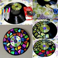break /cut old cds, use, color with permanent marker and glue on base! Love it!
