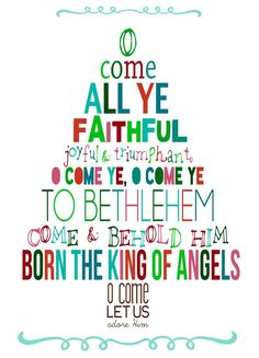 christmas song lyrics in the shape of a christmas tree for cute and simple artwork or card.
