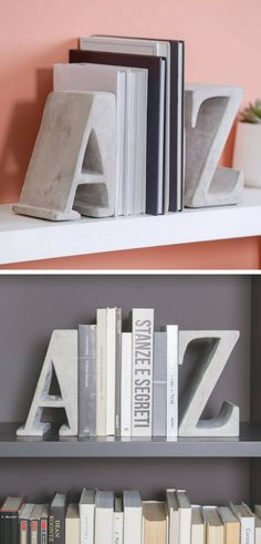 I love these huge concrete letter bookends. These A-Z Concrete Bookends will be a great asset to any bookshelf. #ad #concrete #bookend #cement #letters #homedecor #decoration