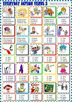 Everyday life action verbs multiple choice 2 worksheet - Free ESL printable worksheets made by teachers English Sentences, English Verbs, Learn English Grammar, English Language Learning, English Lessons, English Vocabulary, Teaching English, English Worksheets For Kids, English Activities