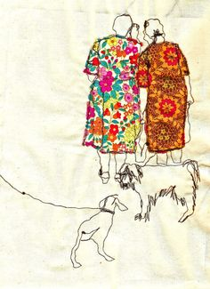 Sarah Walton, embroidered illustration