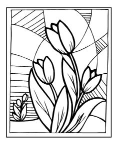 Painting Flowers Tulip In Spring coloring picture for kids