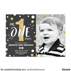 Mr onederful birthday invitation Boy Black Gold ♥ A perfect way to invite your guests to your little one's birthday party! Mr onederful theme with black and gold.
