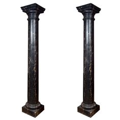 Attractive pair of very large faux marble painted columns, black with beige veins. Professionally painted to appear as marble. Removed from a courtyard in Argentina. Can be used indoors. Fluted Columns, Marble Columns, Tuscan Courtyard, Marble Pillar, Roman Columns, Marble Painting, Black Cement, Black And White Marble, Tuscan Style